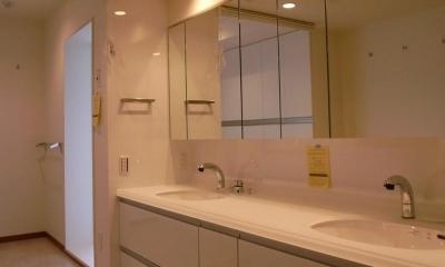 広々とした明るいダブルボウルの洗面室|収納も手入れもしやすく