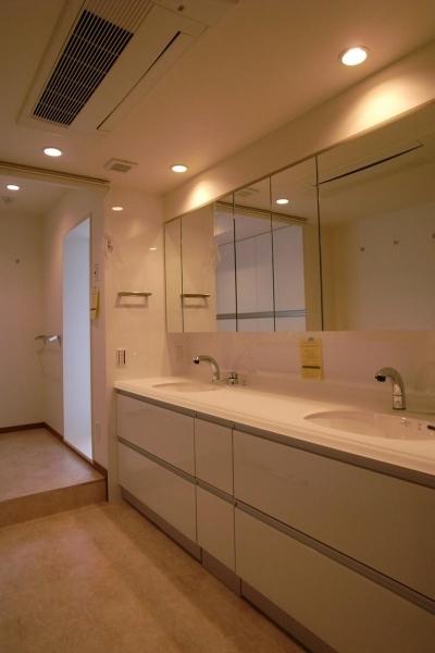 広々とした明るいダブルボウルの洗面室 (収納も手入れもしやすく)