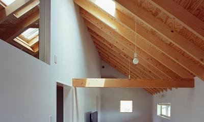 『蒲郡の家』~土間のダイニングキッチンのある家~ (三角屋根の下にある長い部屋)