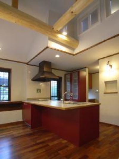 存在感のあるオープンキッチン (Tut邸)