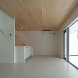 スタイリッシュなデザイン住宅・光の満ちる贅沢空間:杉並区K様邸-大きな窓のあるLDK