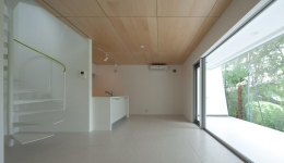 スタイリッシュなデザイン住宅・光の満ちる贅沢空間:杉並区K様邸 (大きな窓のあるLDK)