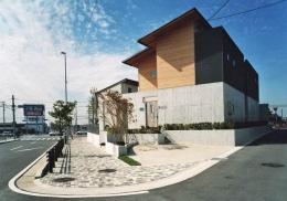 街中のガーデンハウス (三角形の敷地での2世帯住宅)