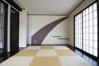 市松模様の畳が印象的な和室 (木造注文住宅 開放感あふれる家)