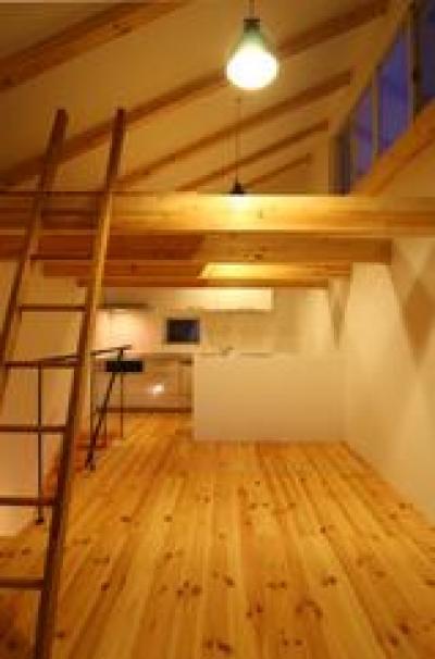 天窓のあるナチュラルなリビング (木造注文住宅 片流れ屋根の家)