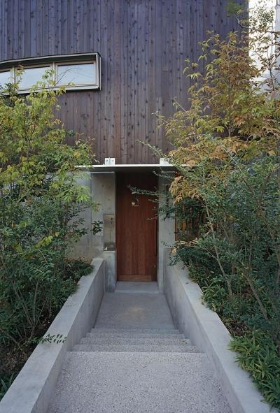『岳見の家』~雑木林につつまれた住まい~ (緑に覆われた 玄関アプローチ)