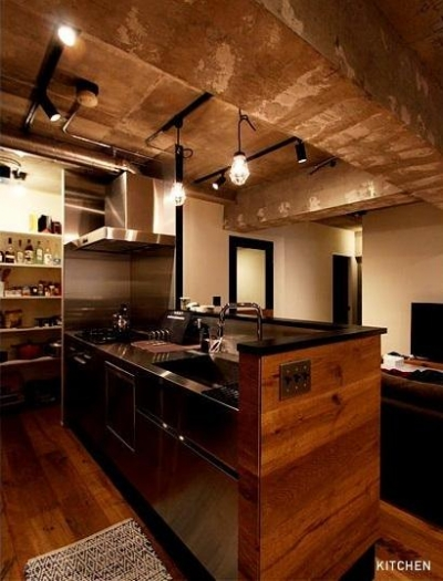 パントリーのあるキッチン (VINTAGE × 古箱)