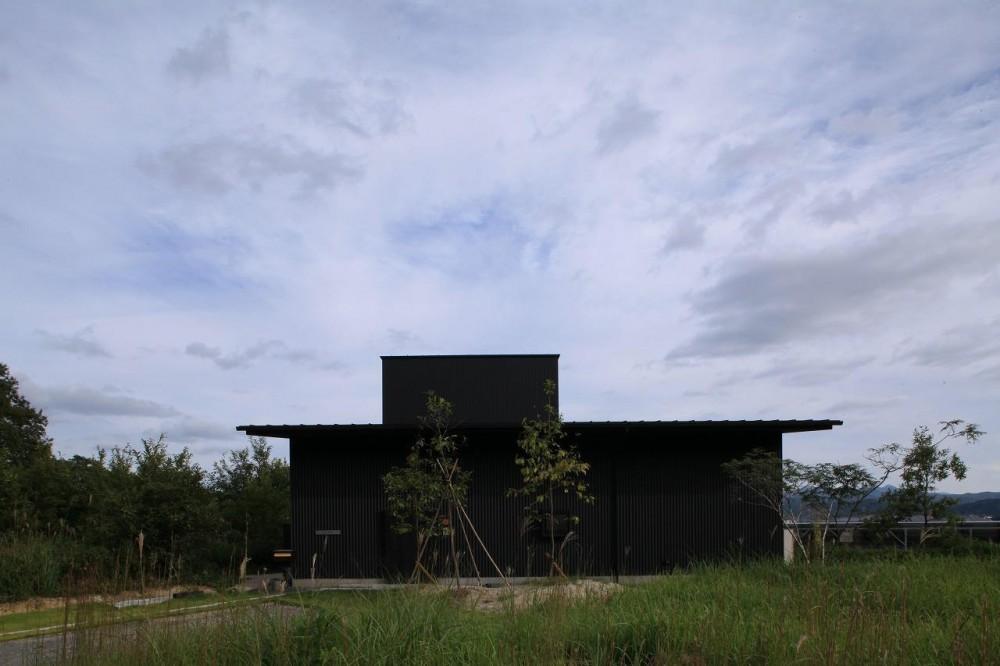 『HDFの家』〜雑木林と語らう家〜 (大屋根の上にソラハコ(2階)が飛び出している)