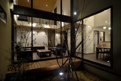 美田園の家 (中庭夜景)