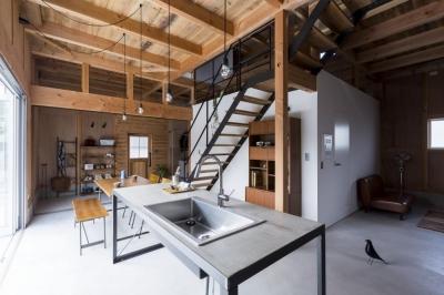 ダイニングキッチン (倉庫をリノベーションしたかのような新築の家(石部の家))