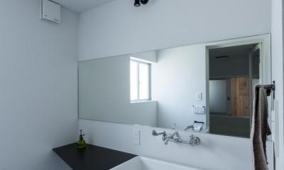 倉庫をリノベーションしたかのような新築の家(石部の家) (洗面室)