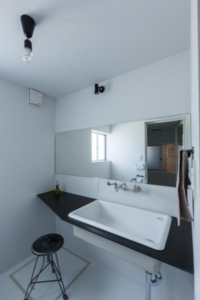 洗面室 (倉庫をリノベーションしたかのような新築の家(石部の家))
