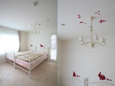 明るい女の子らしい雰囲気の子供部屋 (N邸)