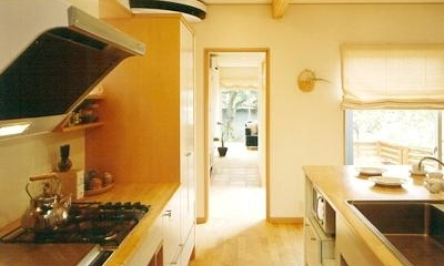 三角敷地の家 キッチンスタジオ (オープンキッチンのDK)