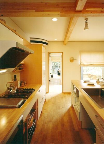 三角敷地の家 キッチンスタジオの部屋 オープンキッチンのDK