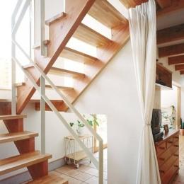 リビングに吹き抜け土間のある家-オープン型階段