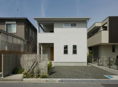 2階が生活拠点のシンプルな家 (外観)