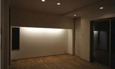 コンパクトかつ有機的な家 (ライトが照らすリビング)