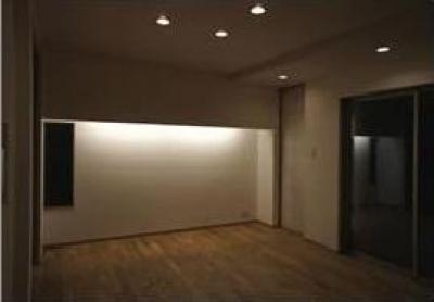 ライトが照らすリビング (コンパクトかつ有機的な家)