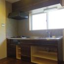 木板壁とチェッカーガラスのある家の写真 キッチン
