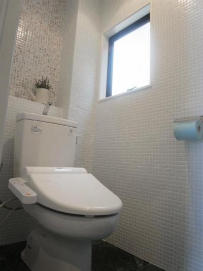 トイレ (天然素材を使用したアイランドキッチンの家)