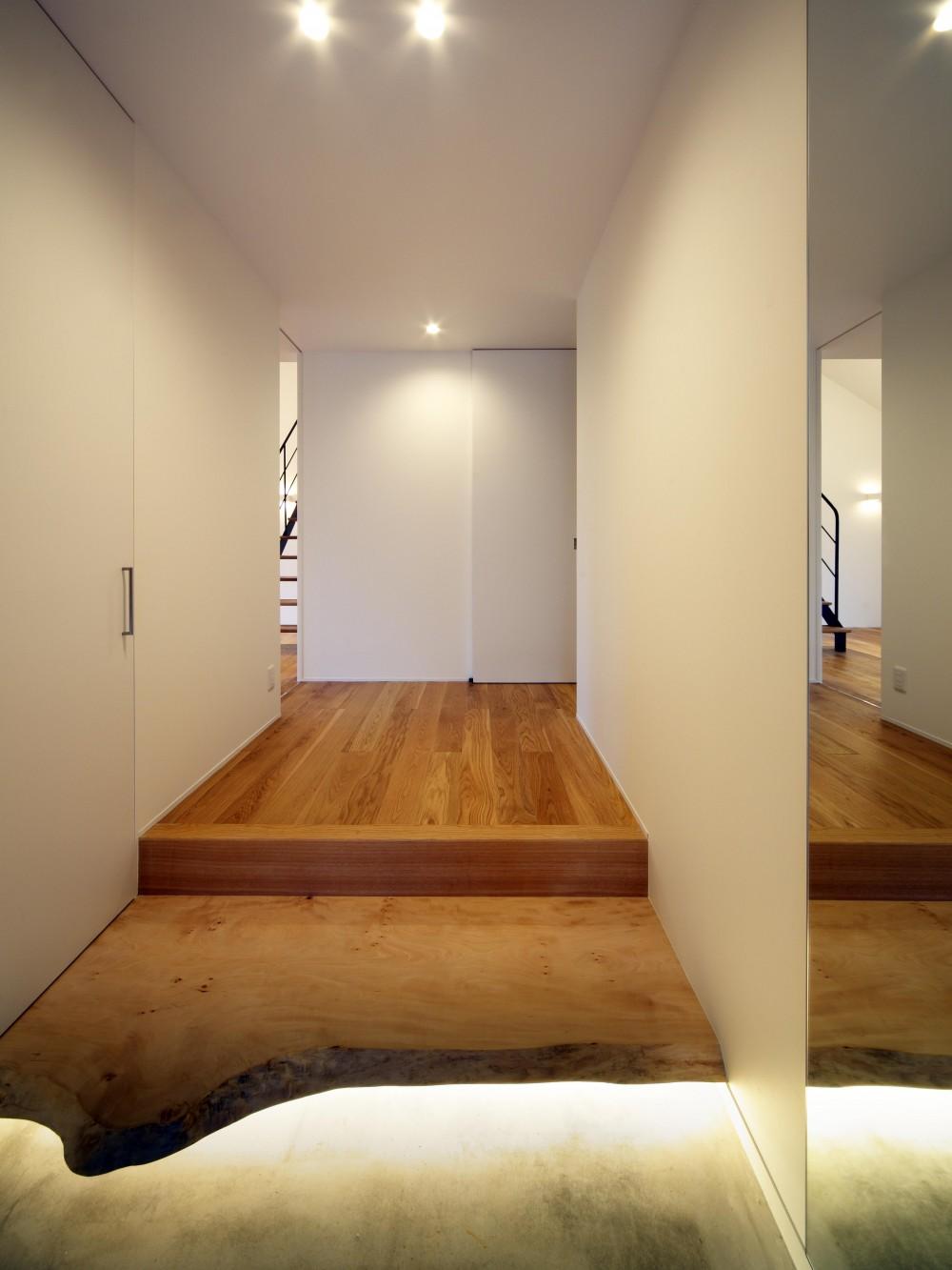 おおきな屋根を楽しむ住まい (銘木を使用したシンプルモダンな式台と上框)