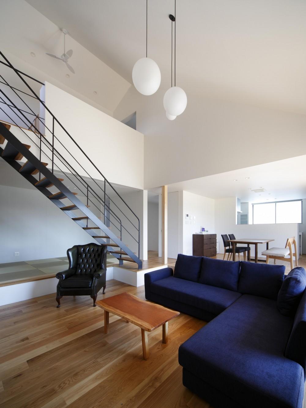おおきな屋根を楽しむ住まい (勾配屋根の吹抜空間に優雅なスケルトン階段)