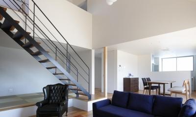 勾配屋根の吹抜空間に優雅なスケルトン階段|おおきな屋根を楽しむ住まい