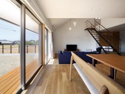 おおきな屋根を楽しむ家 (テラスと連続したリビング・ダイニング・キッチン)