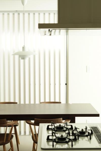 木漏れ日のプールサイドハウス (ダイニングキッチンとルイスポールセンの照明)