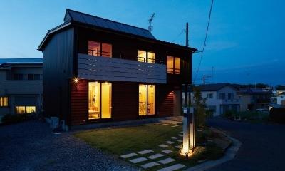 外観ライトアップ|土浦の家3