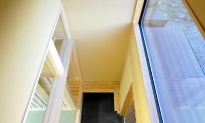 土間と光の和の時間、回遊性のある和空間 (戸がある天井の高い土間)