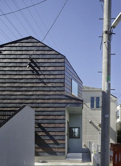 二色の鋼板で配色された外壁 (撮影:繁田諭) (保谷の小さな家)