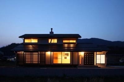 外観ライトアップ (揖斐川町谷汲の家)