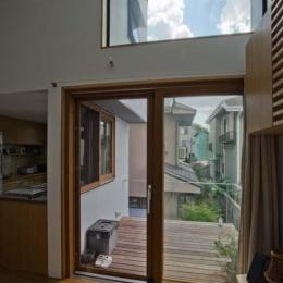 世田谷の住宅 (リビングからテラスを見る)