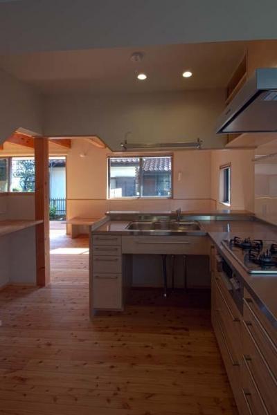 船橋の住宅 (他の家具や建具と合わせた製作キッチン)