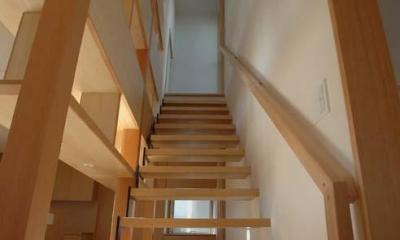 立川の住宅 (屋上への階段にはハンガーパイプ)