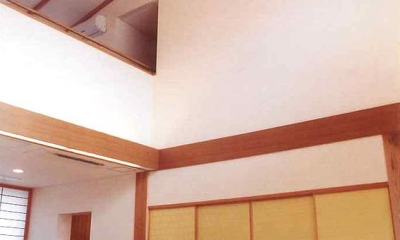 吹き抜け見上げ|武蔵中原の家