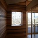 八ヶ岳山荘の写真 玄関ホールのピクチャーウィンドウ