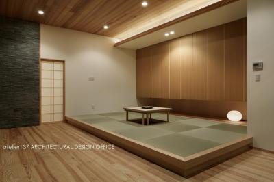 和室夕景 (040軽井沢Cさんの家)