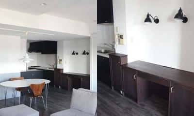 空間に合わせた作り付けデスク|A邸