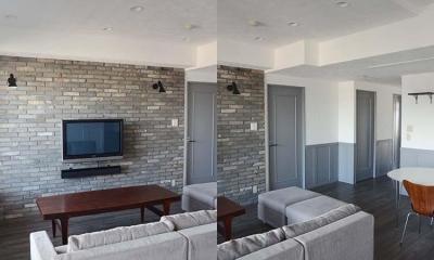 漆喰の白壁とグレーの建具のバランス|A邸