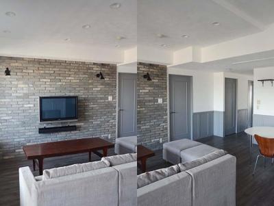 漆喰の白壁とグレーの建具のバランス (A邸)