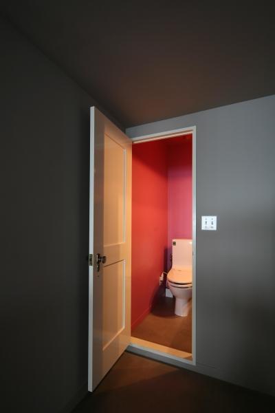ローズカラーの壁がおしゃれなトイレ (K邸)
