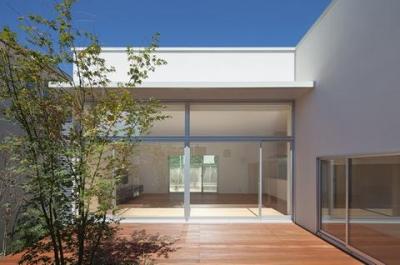 中庭から居間を見る (撮影:岡本公二) (STEP HOUSE)