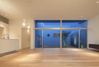 居間から中庭を見る (撮影:岡本公二) (STEP HOUSE)