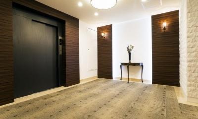 趣を残しつつ上質に生まれ変わった松濤のヴィンテージマンション (エレベーターホール)