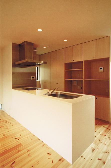 House Kの部屋 広い収納棚とペニンシュラキッチン