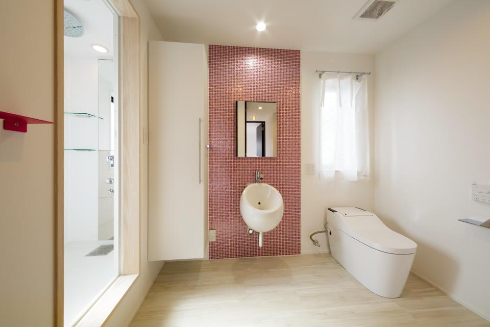CAT HOUSE (猫と暮らす家)の部屋 モザイクタイルでアクセントを出した白いトイレ