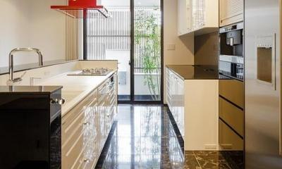 CAT HOUSE (猫と暮らす家) (天然石の床を使用した高級感のあるキッチン)